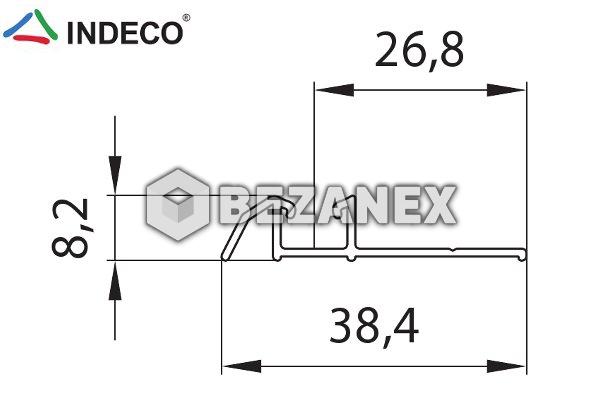 25.03 Indeco  - jednokolaj  dolná  - striebro - AL ,  1m